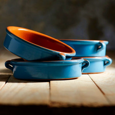 Mediterranean Blue Terra Cotta Cazuelas – 6 Inches (4 Dishes)