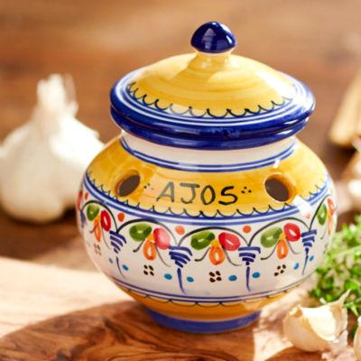 Blue and Yellow Ceramic Garlic Jar