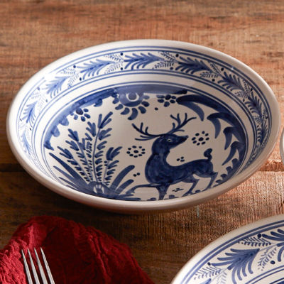 & Hand-Painted Golondrina Soup Bowl Stag Design - 9 Inches