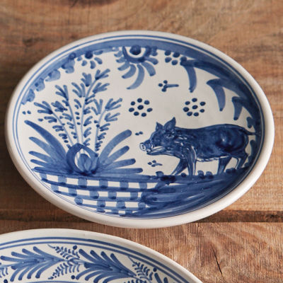 Hand-Painted Golondrina Salad/Tapas Plate, Wild Boar Design - 8 Inches