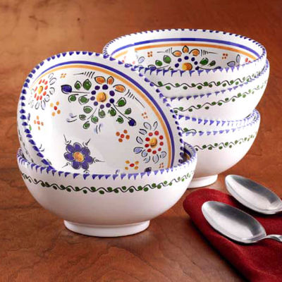 Set of 4 Hand-painted Bowls - 6 Inch Diameter each