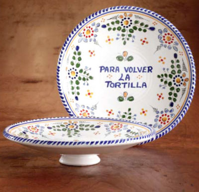 Spanish Tortilla Flipper/  Plate - Color 'Flor' Design