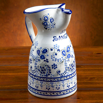 Ceramic Sangría Pitcher - Blue 'Flor' Design