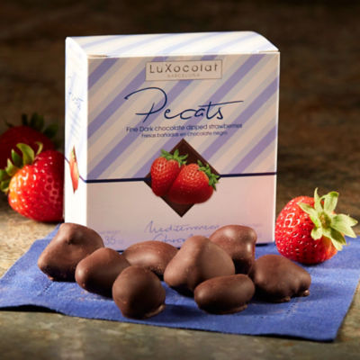 Candied Strawberries Dipped in Dark Chocolate