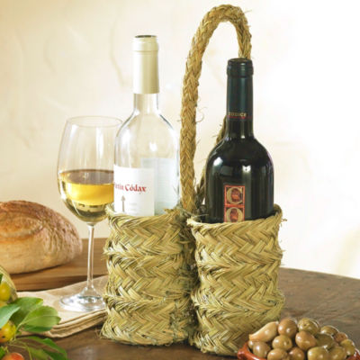 Handwoven Esparto Grass Wine Holder