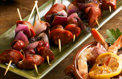 Grilled Chorizo Kebabs with Cherries and Figs Recipe