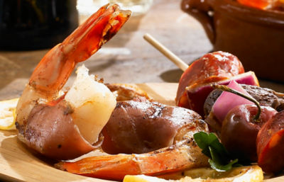 Grilled Shrimp Wrapped in Serrano Ham Recipe