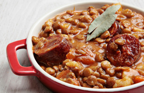 Authentic spanish food recipes for dishes dinners cooking lentil and chorizo stew recipe forumfinder Image collections