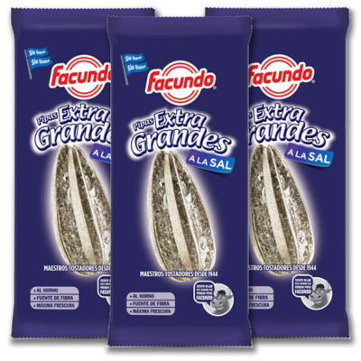 3 Packages of Extra Grande Pipas Salados Sunflower Seeds by Facundo