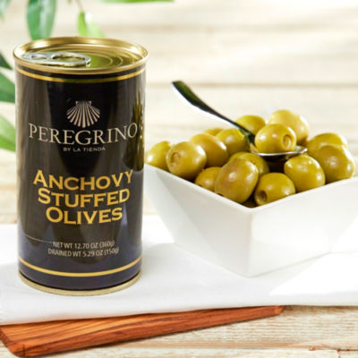 2 Tins of Anchovy Stuffed Olives by Peregrino - 'Extra' Quality