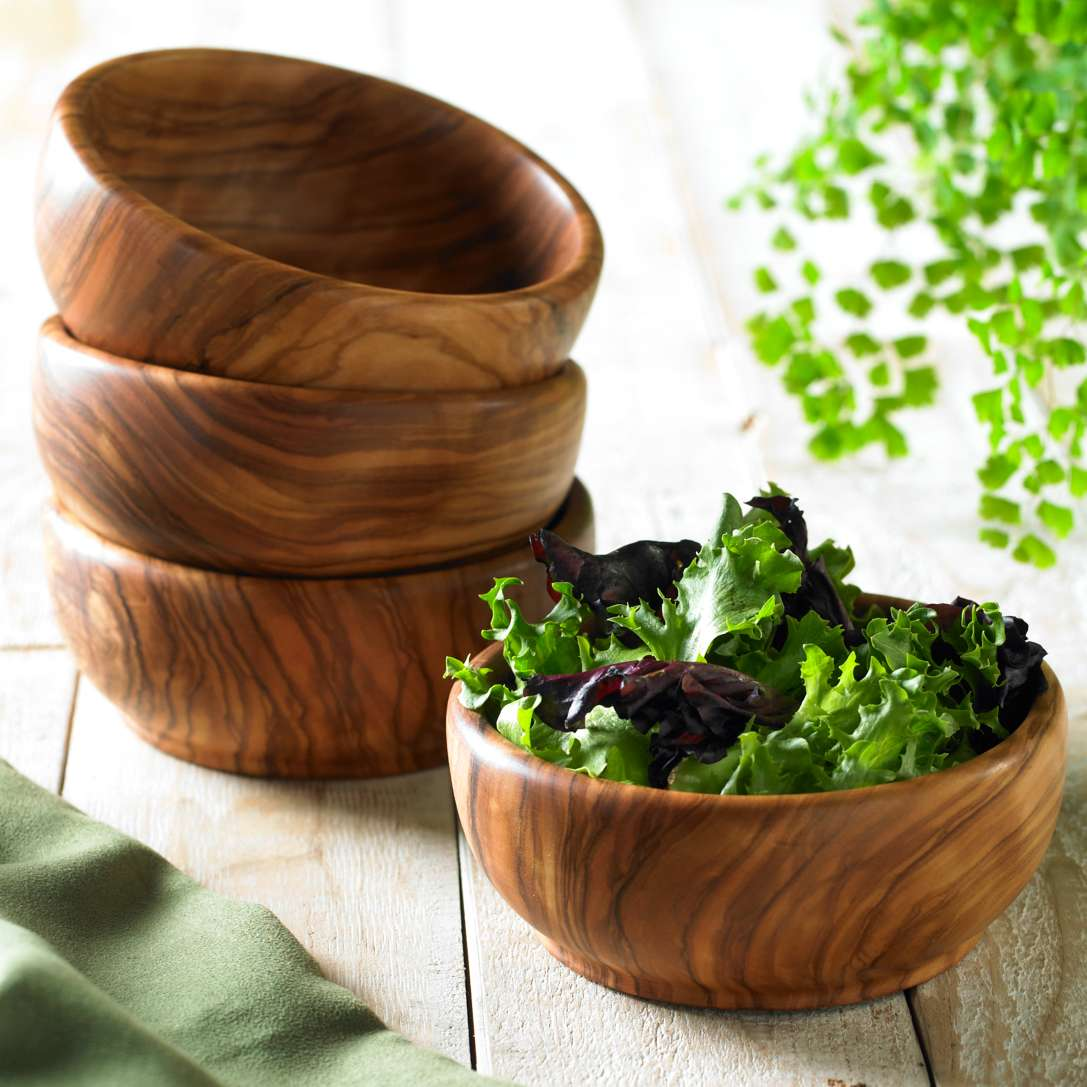 Set Of 4 Individual Olive Wood Salad Bowls
