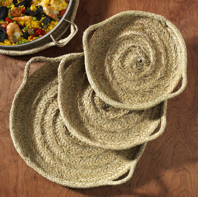 22 Inch Esparto Grass Paella Serving Tray - Handwoven
