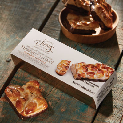 Toasted Almond Brittle Turrón with Chocolate by Vicens