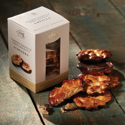 Toasted Almond Brittle Turrón Rounds with Chocolate by Vicens